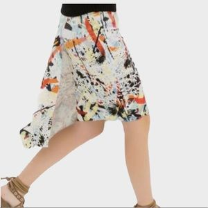 Zara Asymmetrical Graffiti Skirt with Overlay Sz M